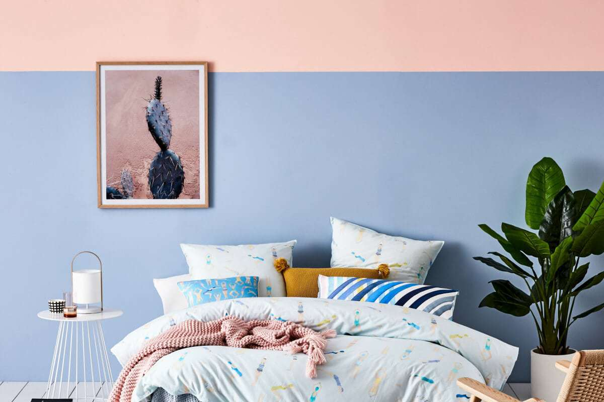 adairs-spring-bedding-paint-effects-pink-and-blue-wall-pantone-blue-and-pink