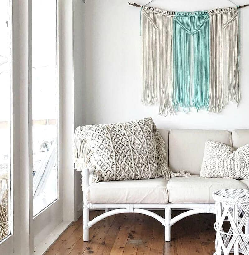 Bohemian Interior Design Macrame Art On Living Room