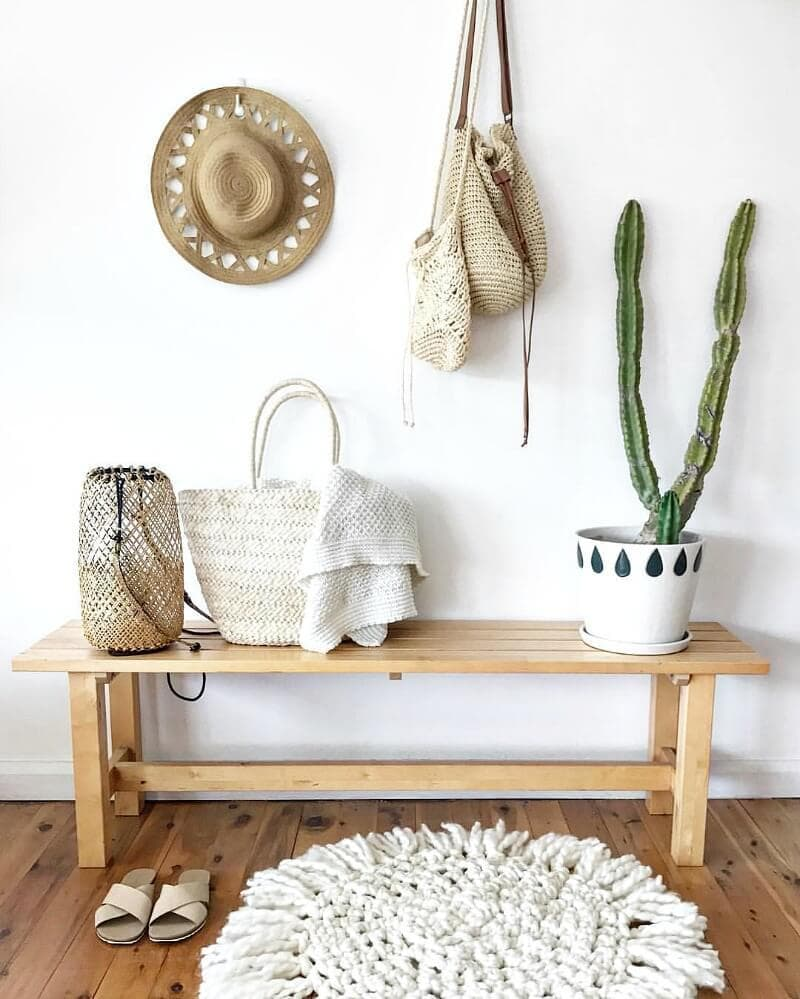 coastal-bohemian-entryway-with-cactus-and-textured-rug