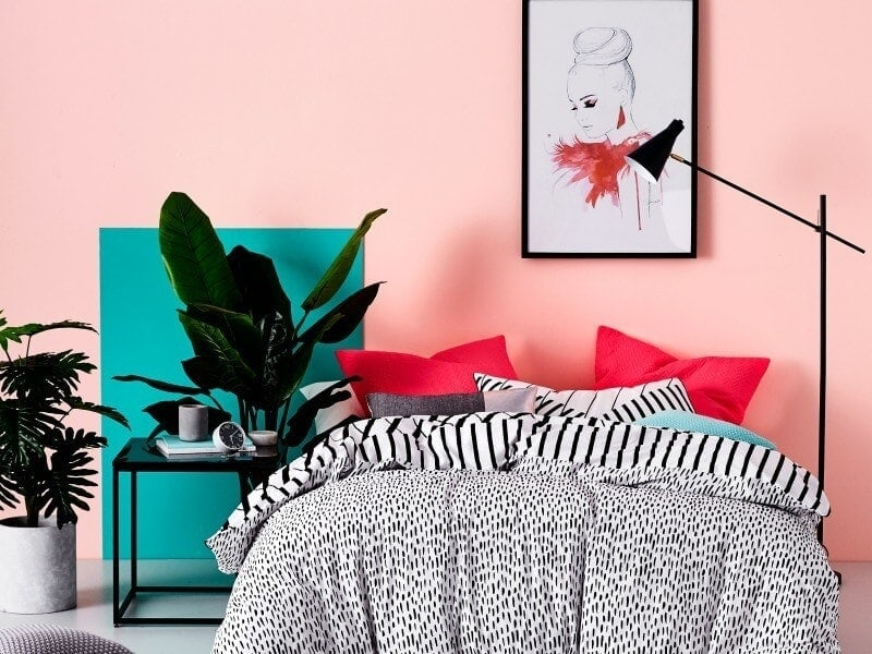 paint-effects-paint-squares-on-walls-pink-wall-with-teal-accents