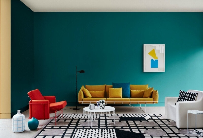 painted-door-frame-and-dark-teal-wall-from-dulux-australia-paint-effects