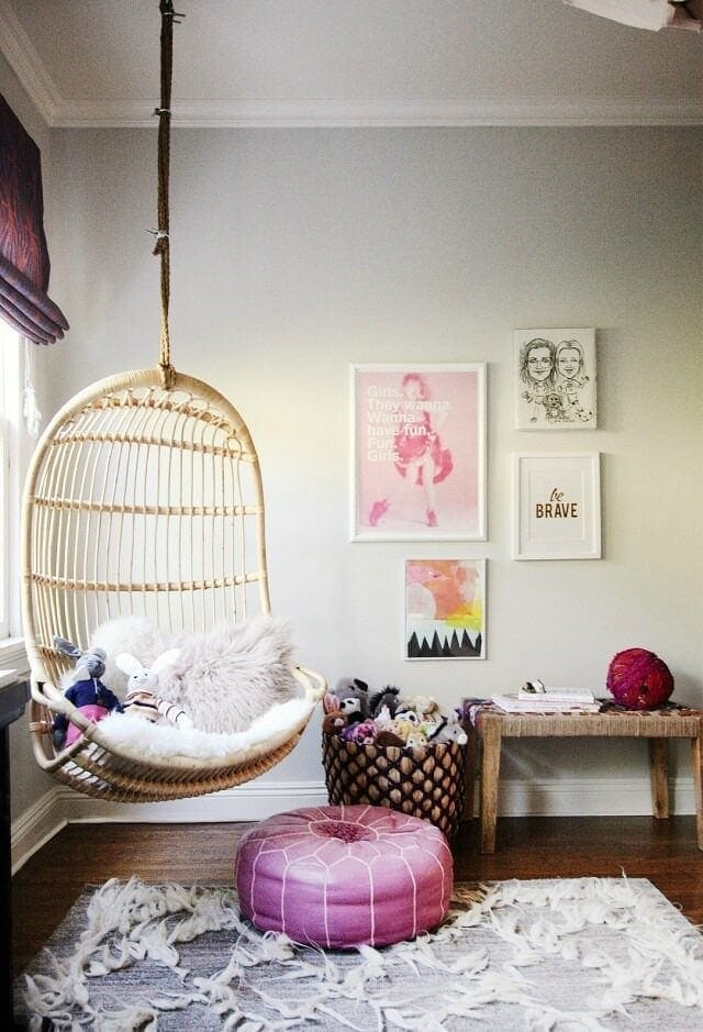 pink-and-grey-girls-bedroom-with-swinging-egg-chair-and-textural-rug
