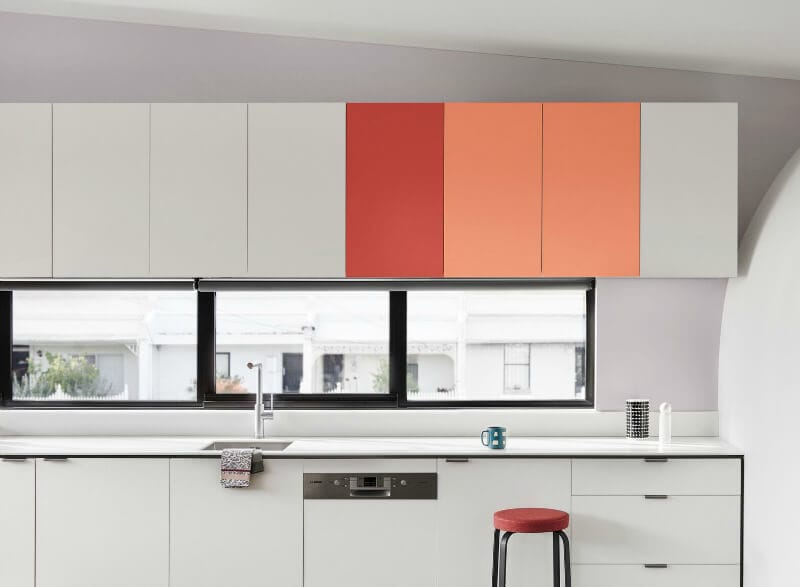 white-kitchen-with-colourful-cabinetry-dulux-australia