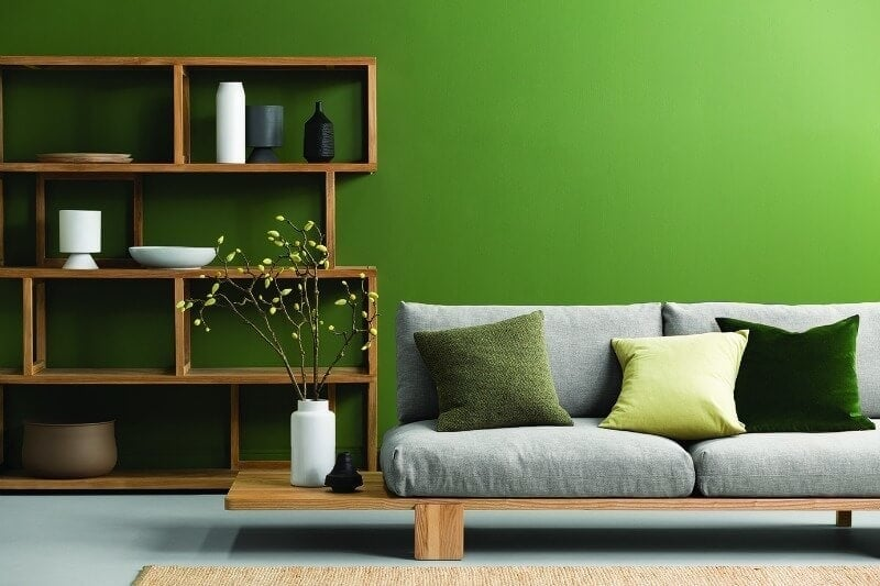 bright-green-feature-wall-from-haymes-paint-in-living-room