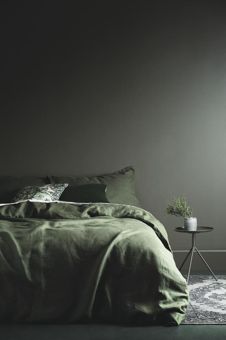 green feature wall in bedroom with green bedding from haymes paint