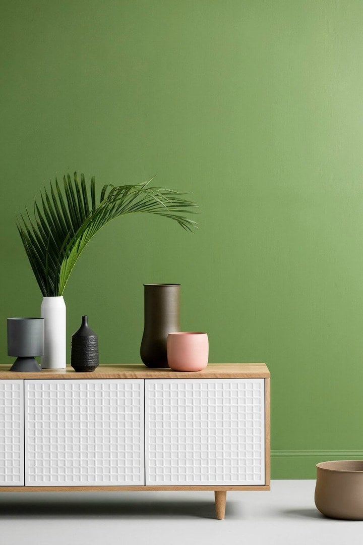 haymes-paint-bright-green-feature-walls-with-colour-and-white-and-timber-sideboard