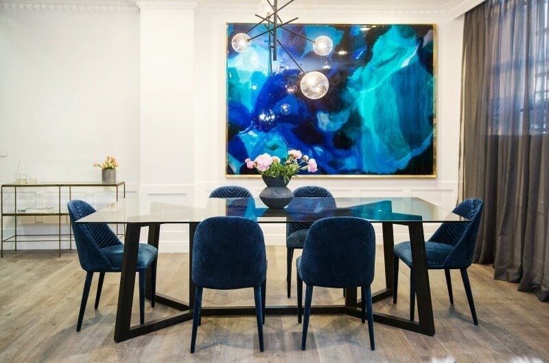 the-block-2016-julia-and-sasha-dining-room-glass-table-with-blue-velvet-dining-chairs