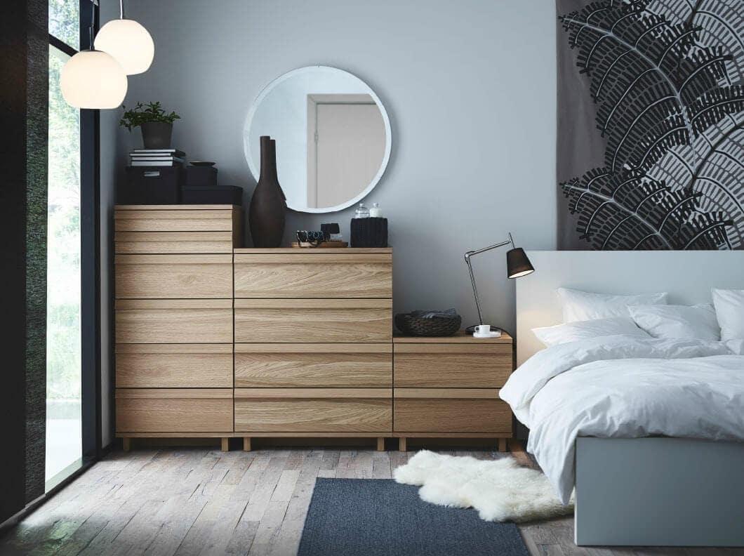 IKEA malm drawers flatpack furniture in light blue bedroom