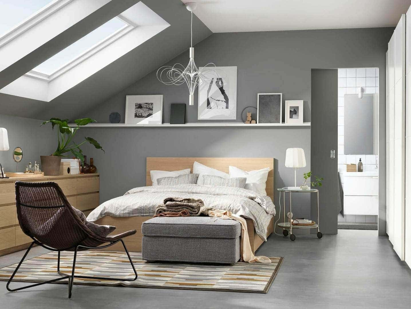 light grey bedroom with ikea malm flatpack furniture