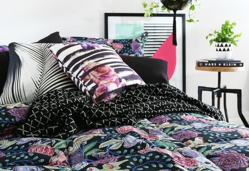 Sanctuary studio pink and black floral bedspread and cushions at life instyle sydney 2017