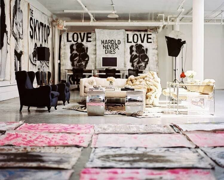 black and pink warehouse apartment