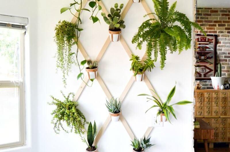 dit indoor vertical garden with leather strap pots