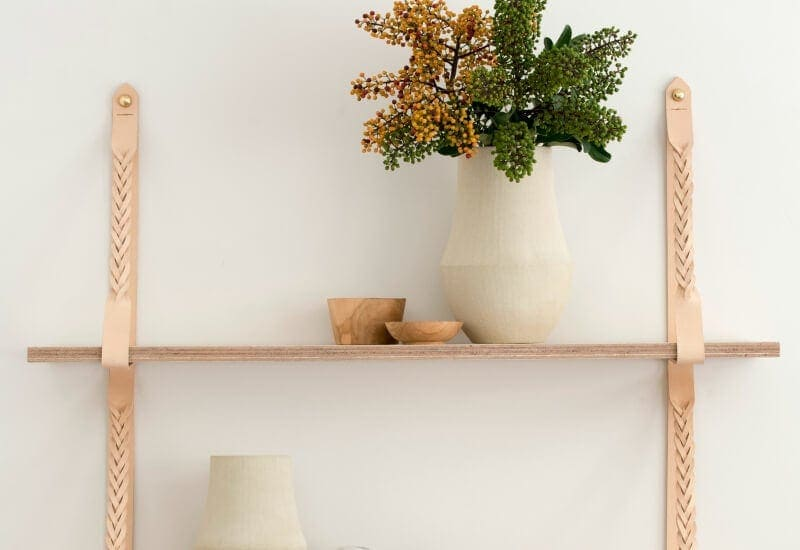 hammered leatherworks shelf with blonde leather straps at life instyle sydney