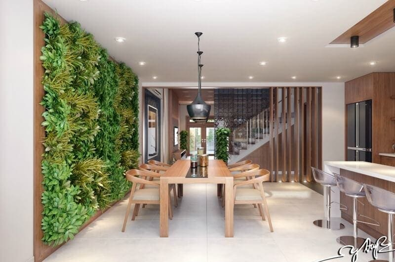 indoor vertical garden in dining room interior design trends 2017 - Garden Design Trends 2017