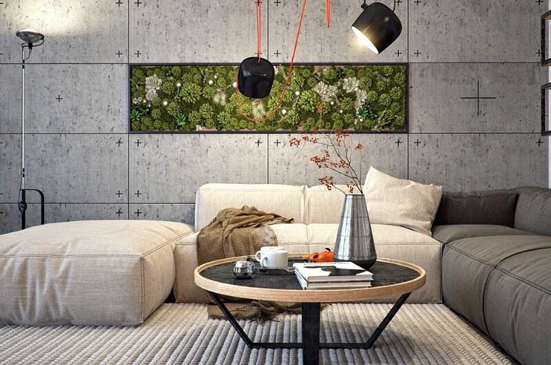 indoor vertical garden on concrete living room wall interior design trends for 2017