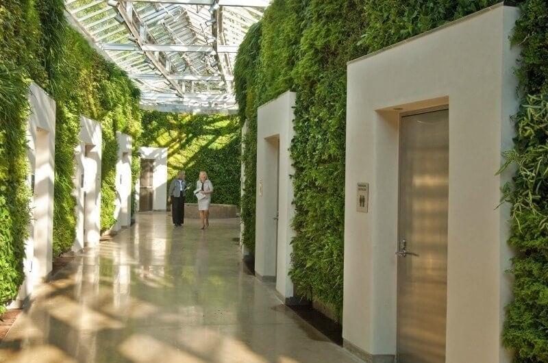 interior design trends for 2017 vertical garden in city office hallway
