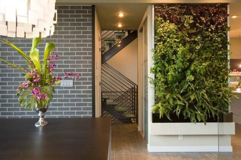 living vertical garden in warehouse apartment