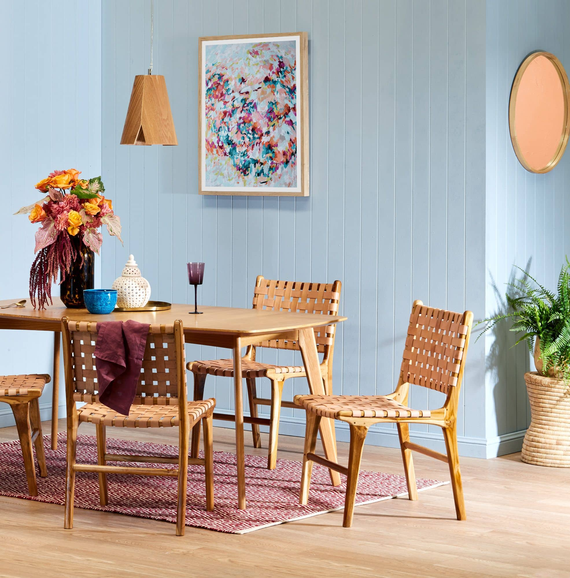 temple and webster leather woven dining chair with oak dining table