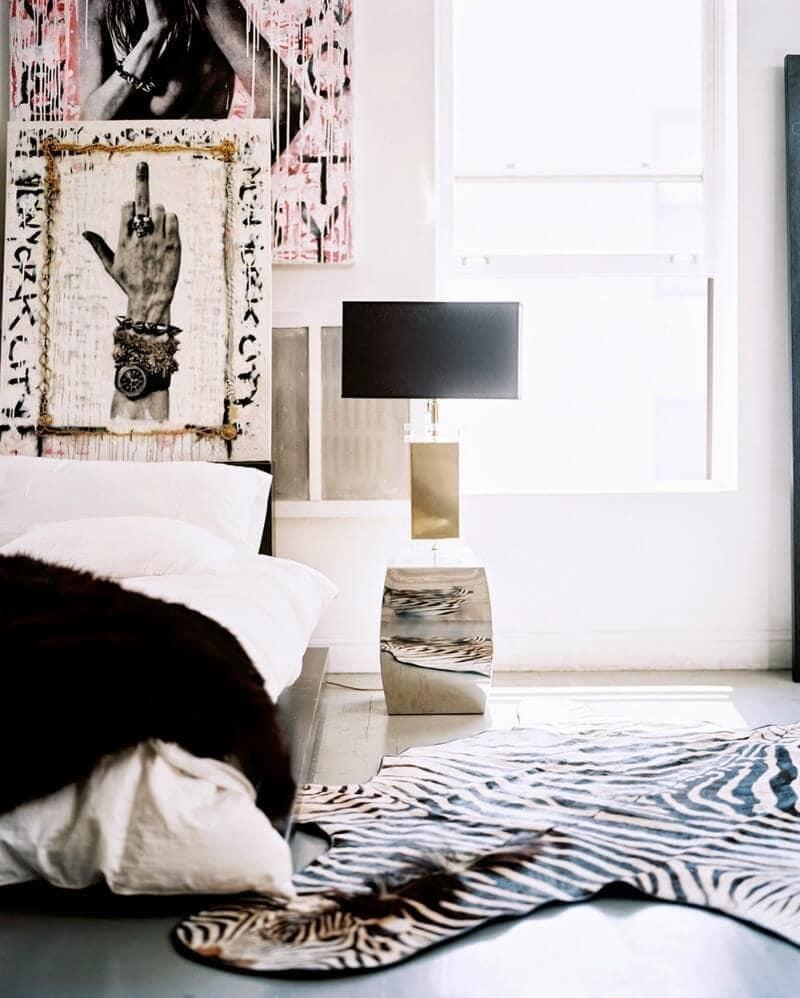 tribal bedroom with street art influences zebra rug