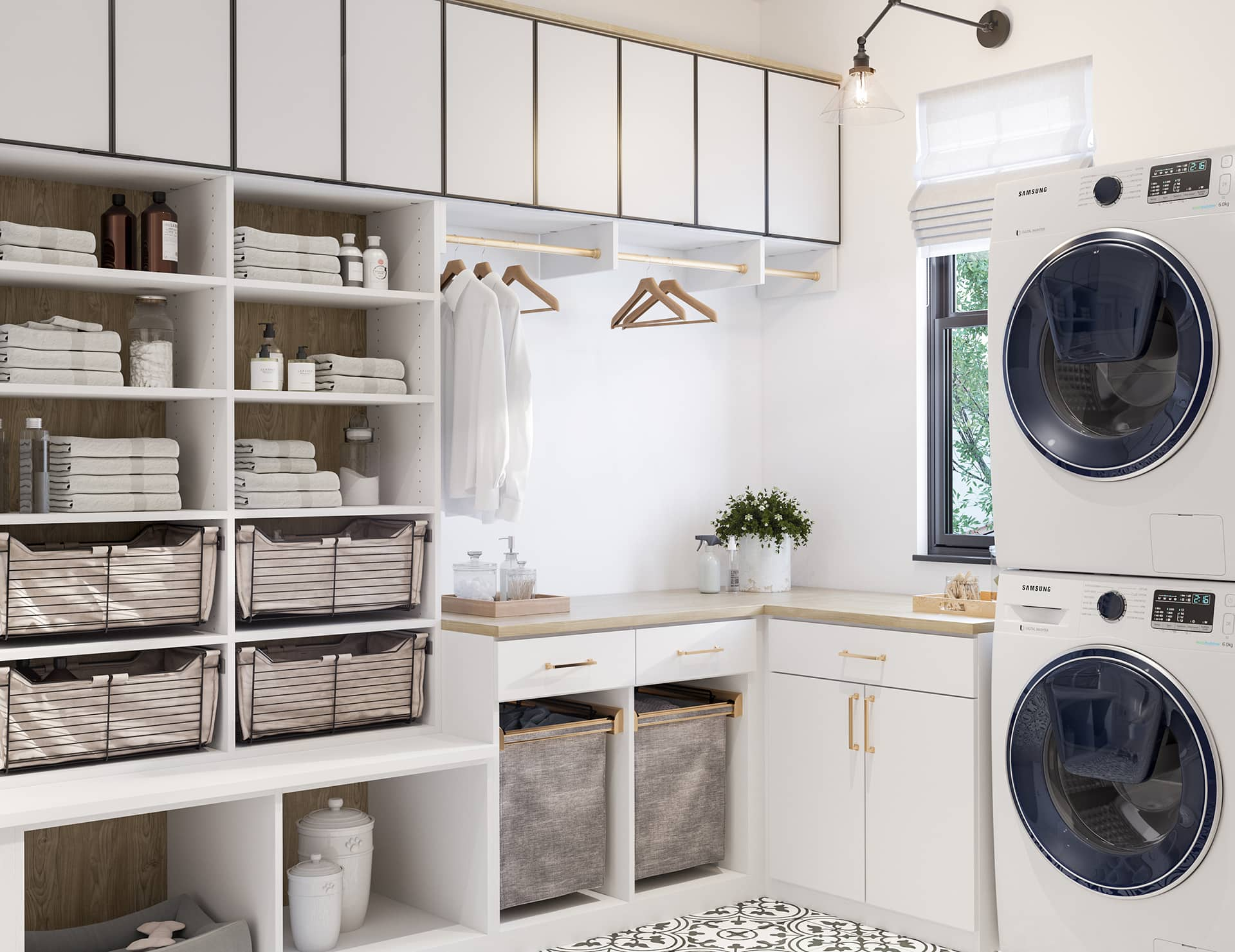 designer laundry room with feature light and tiled floor organised open shelves