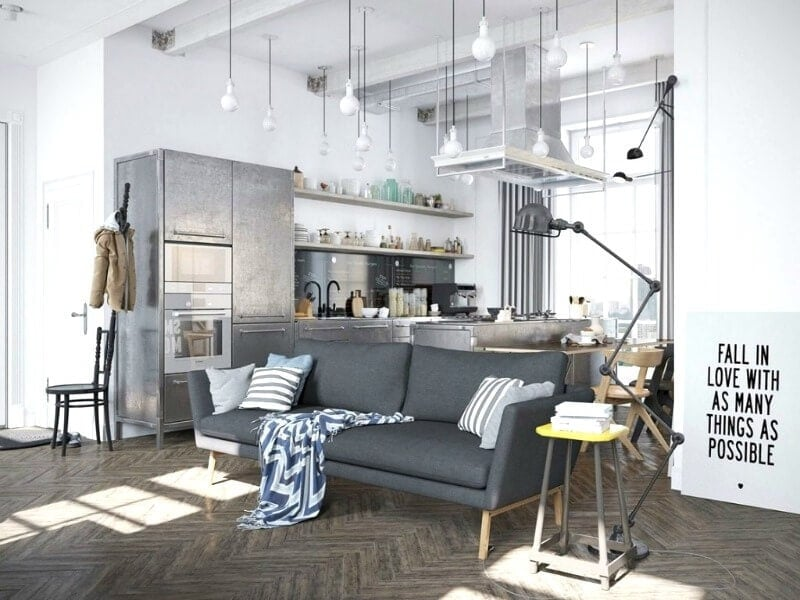 fall in love with as many things as possible artwork in warehouse apartment with herringbone floors