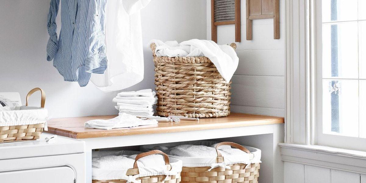 laundry room basket organisation white and oak laundry room design