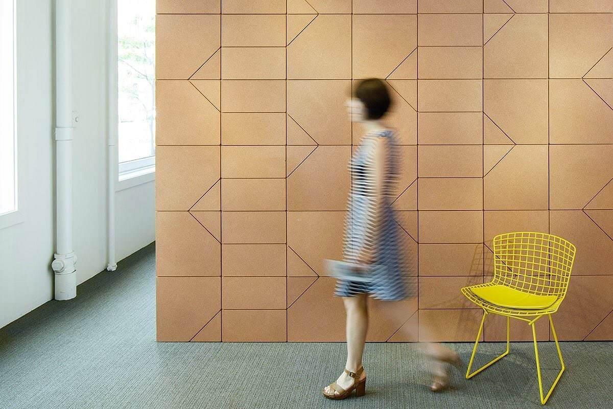 lisboa cork feature wall tiles by spinnneybeck in office