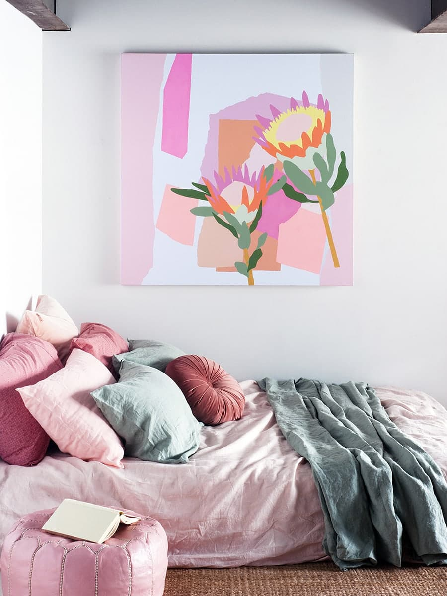 australian abstract artists leah bartholomew pink floral art in pink girls bedroom