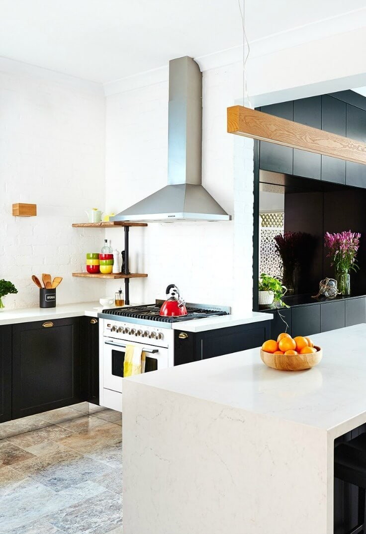 black and white kitchen with shaker style kitchen cupboards and gold handles