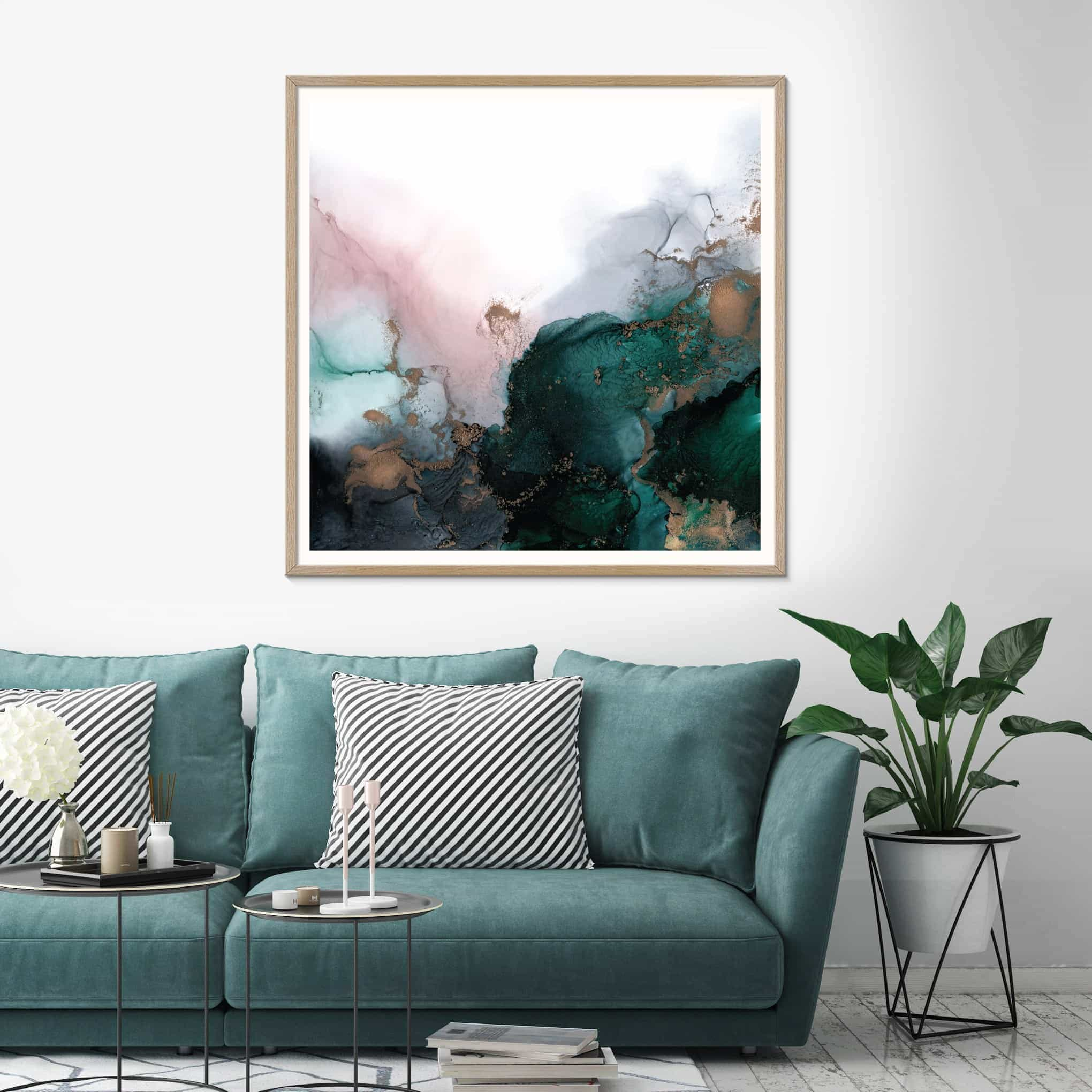 fern siebler australian abstract artists work in living room with teal sofa
