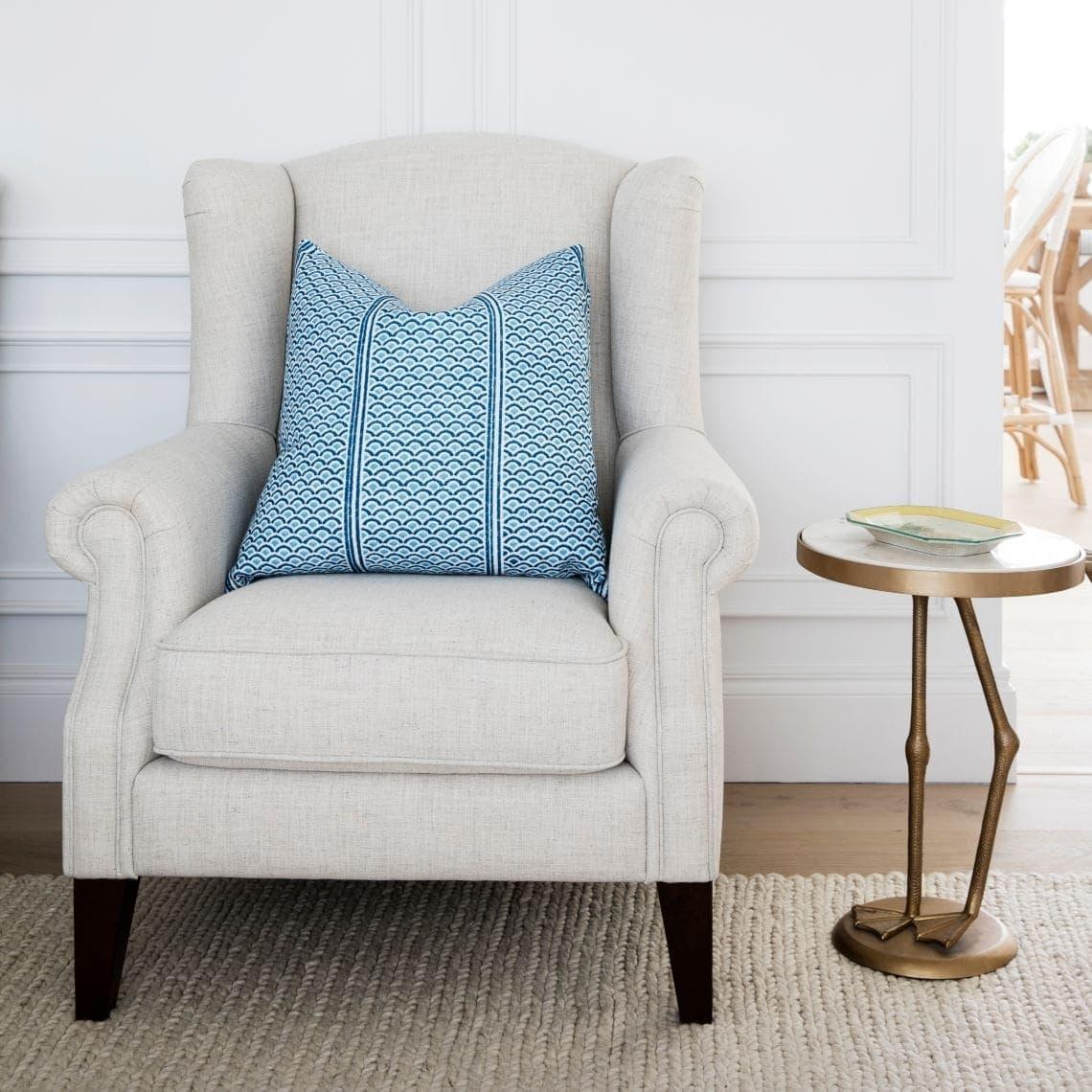 freedom wingback armchair coastal cushion beige rug reading nook