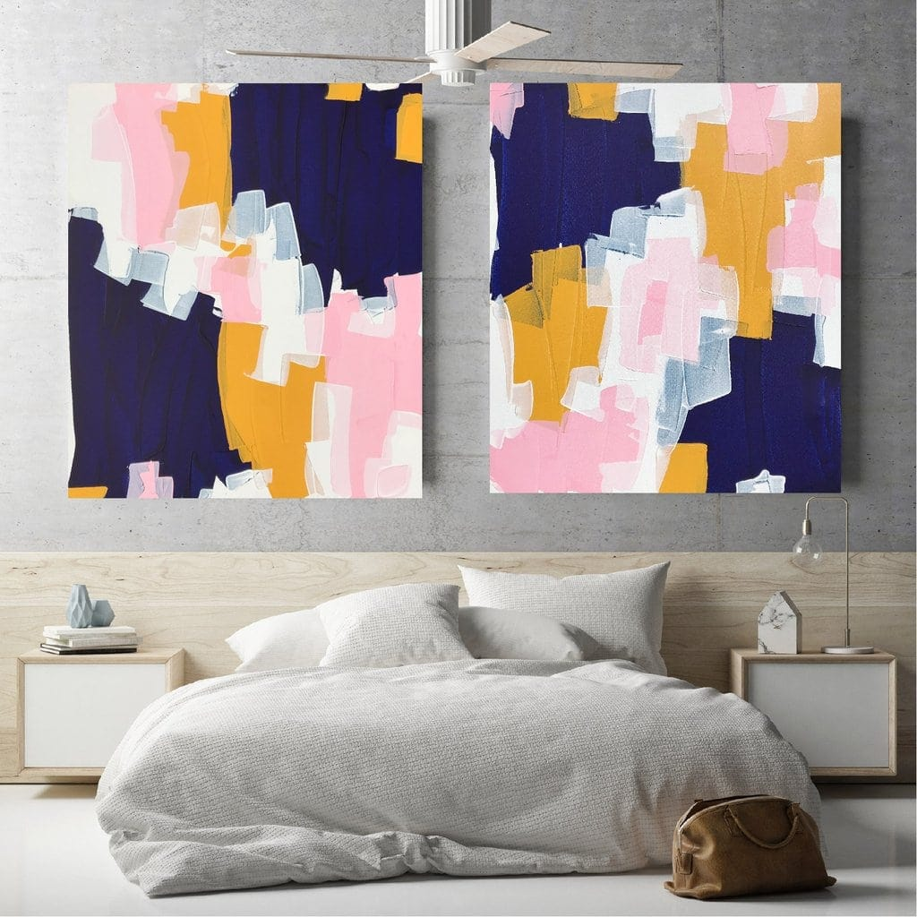 maggi mcdonald australian abstract artists duo of bright art on bedroom wall