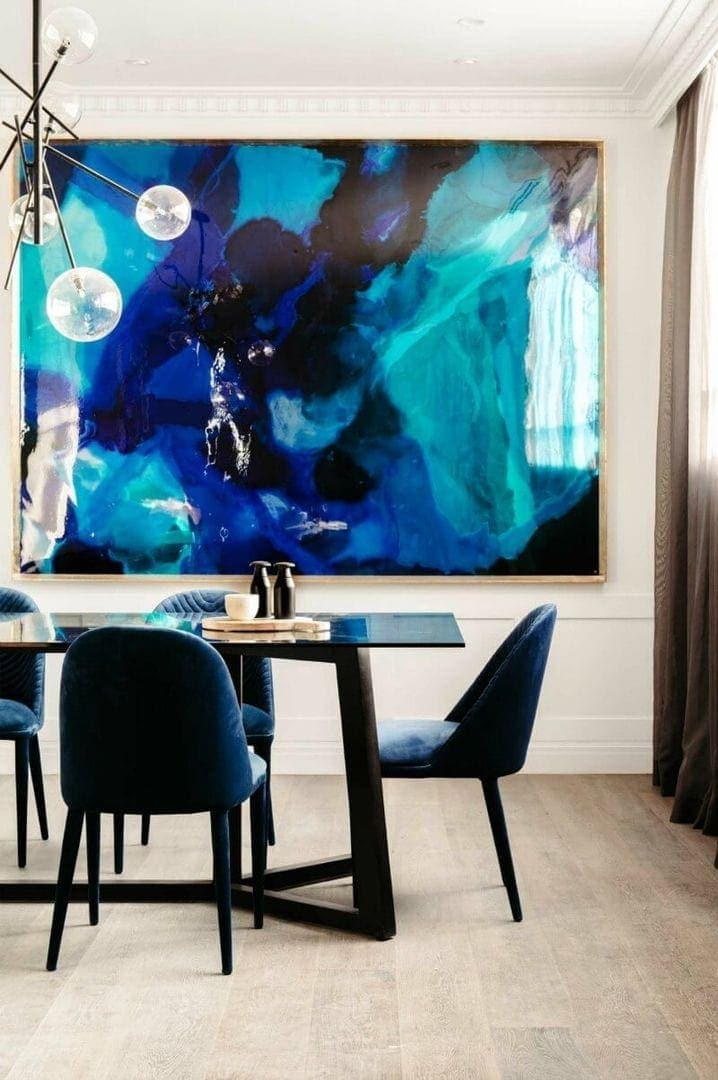 the block 2016 julia and sasha dining room black glass top dining table with navy blue velvet dining chairs from globewest