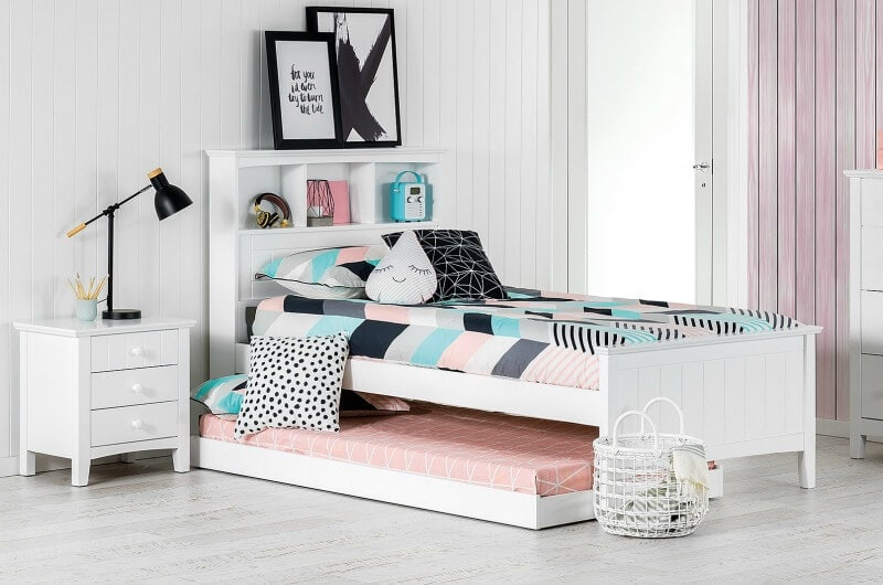 addison bed from amart beds for kids white trundle bed with timber white bedside table
