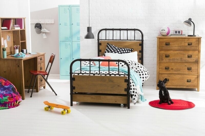 beds for kids addison bed from forty winks with wrought iron frame and industrial timber bed frame