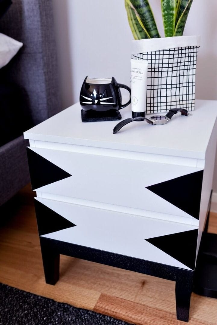 black and white ALDI bedside table with black triangle decals DIY bedside hack