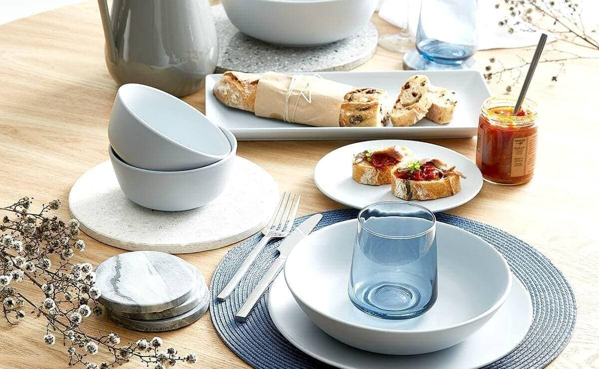 blue and blonde dinnerware from kmart australia & Style and Shop the Blue and Blonde Interiors Trend