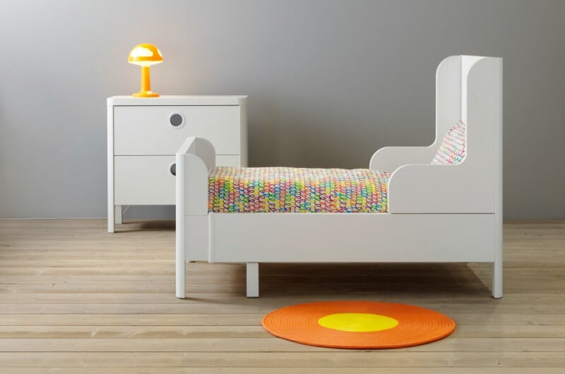 Elegant Busunge Beds For Kids From Ikea White Bed Frame With Matching Drawers And  Round Orange Floor