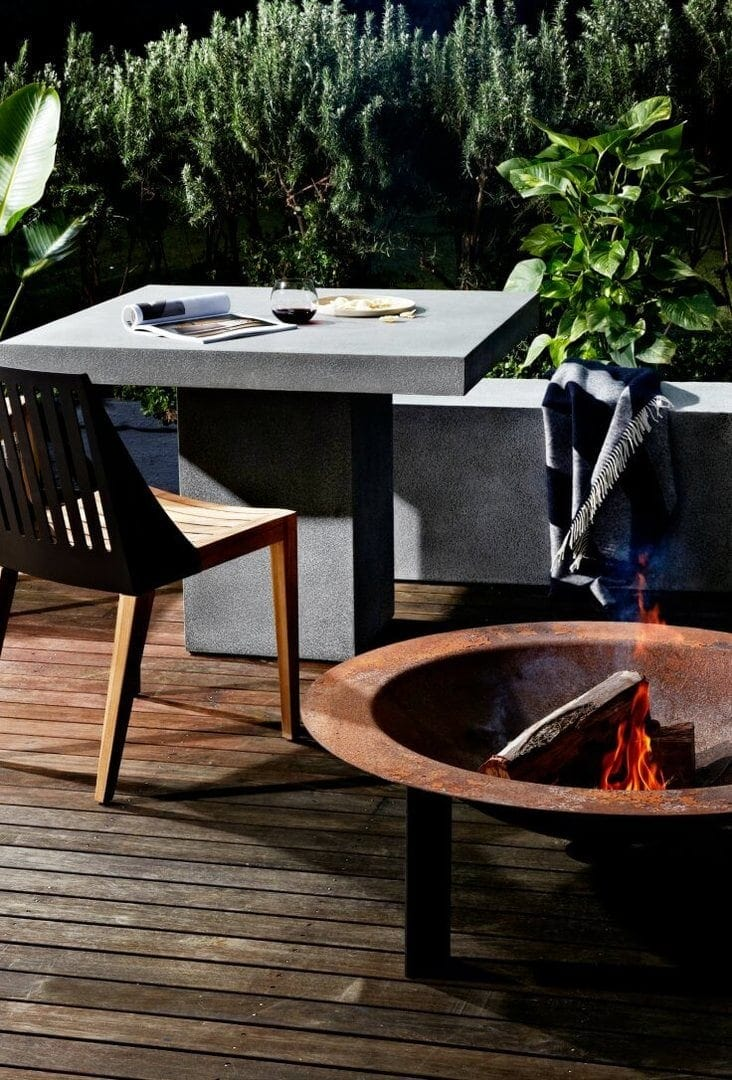 globewest cabo outdoor concrete dining table and bench seat with fire pit