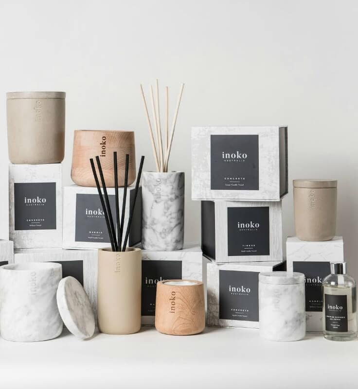 inoko marble and timber candle vessels with diffusers