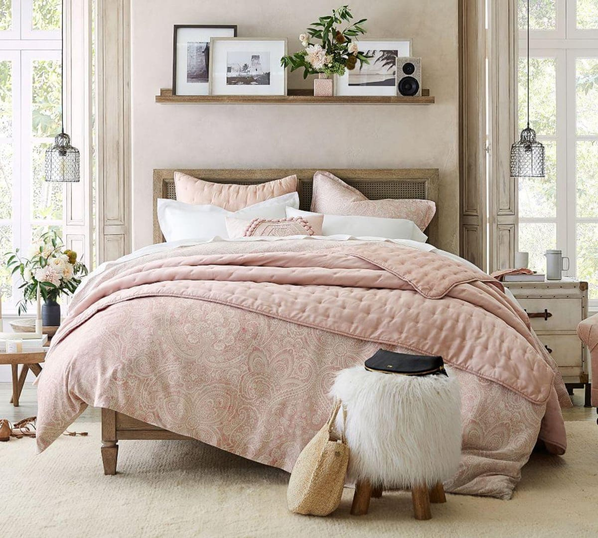 bedroom-with-picture-ledge-above-headboard-and-pink-quilt-cover-set