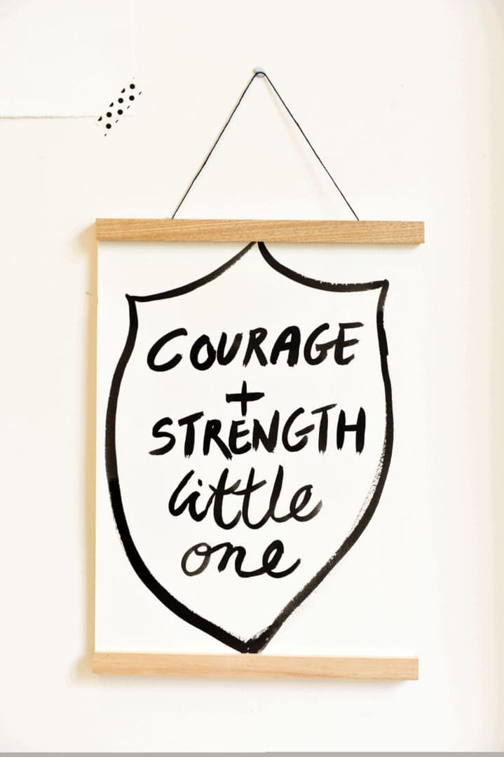 courage and strength quote art for kids rooms by my little perfect