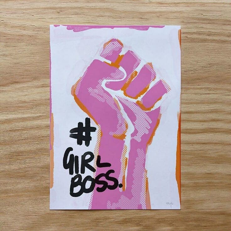 girl boss quote art by minty prints