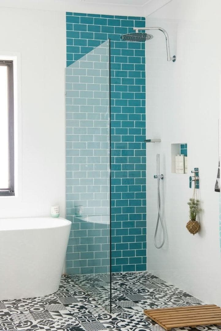 house rules 2017 kate and harry bathroom with turquoise subway tiles and black and white floor tiles