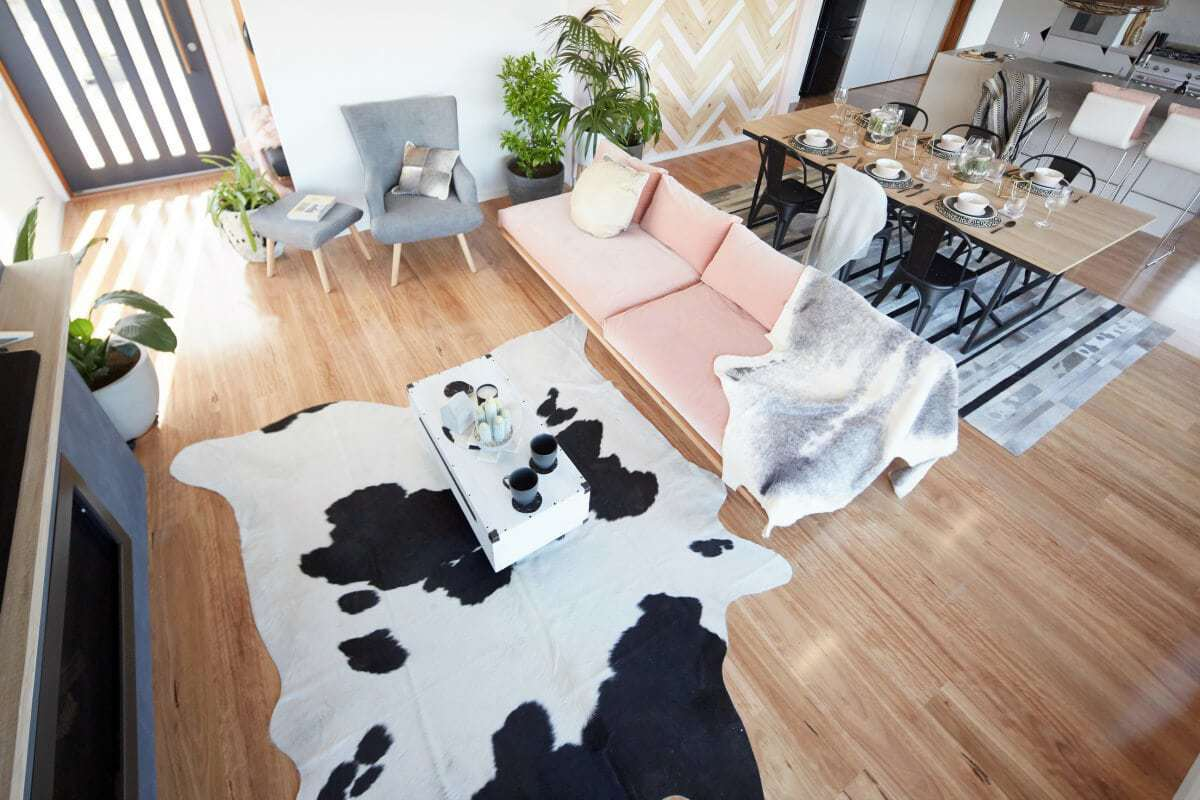 house rules 2017 sean and ella living room with black and white hide rug