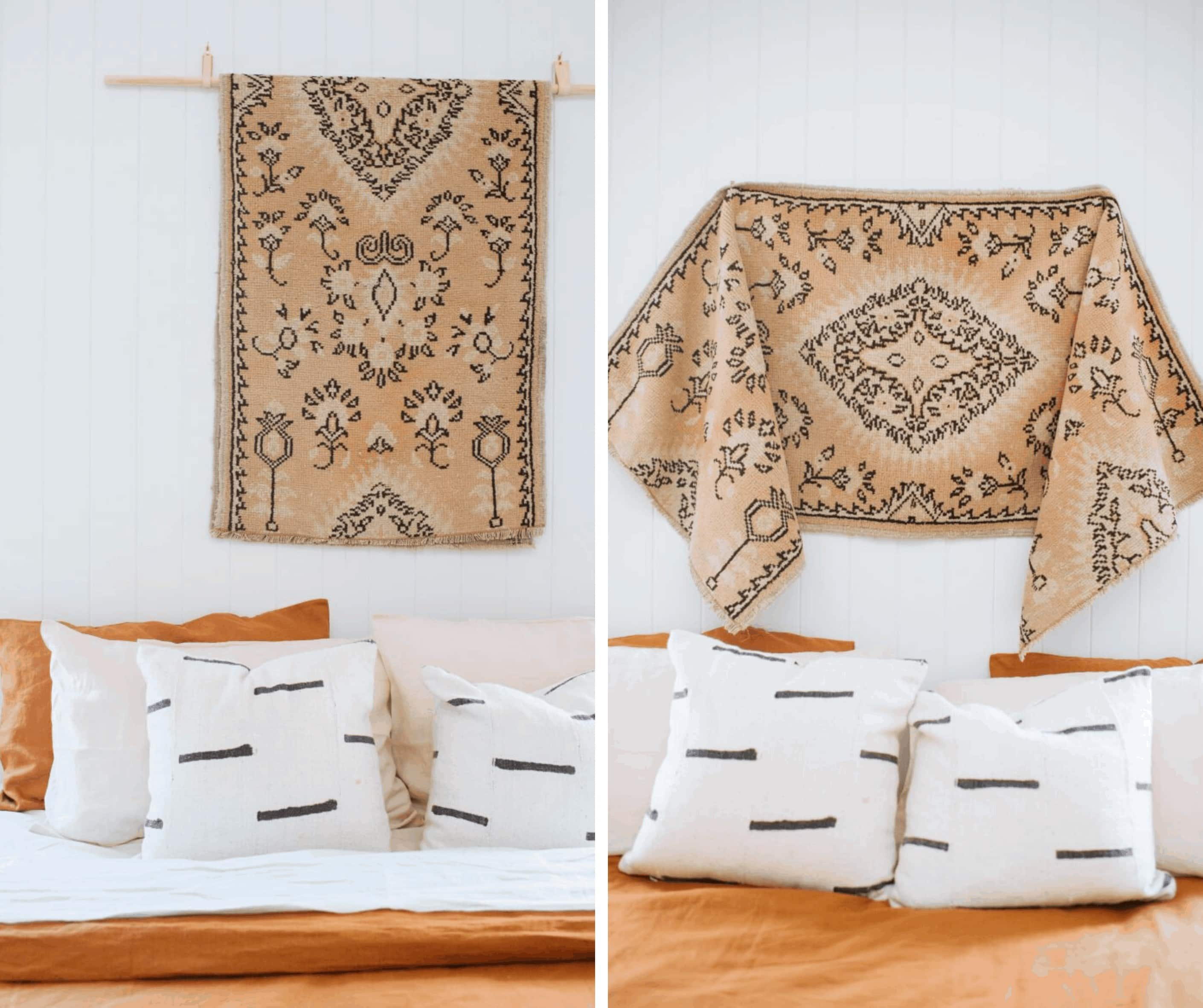moroccan style rug hung on wall above the bed