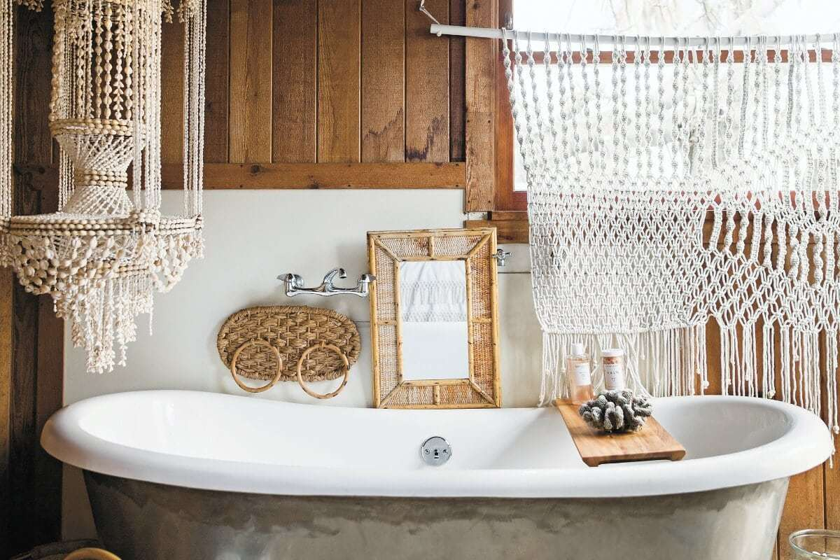 surf shack book bohemian bathroom with macrame and clay bead pendant