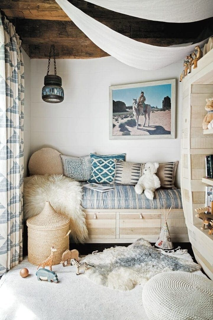 surf shack book bohemian coastal reading nook with faux fur throw and rug