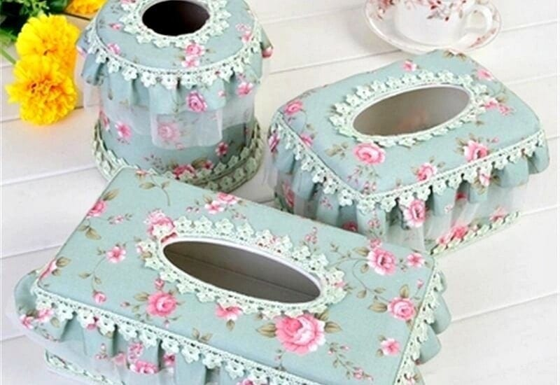 ugly decor fabric tissue box holders with frills
