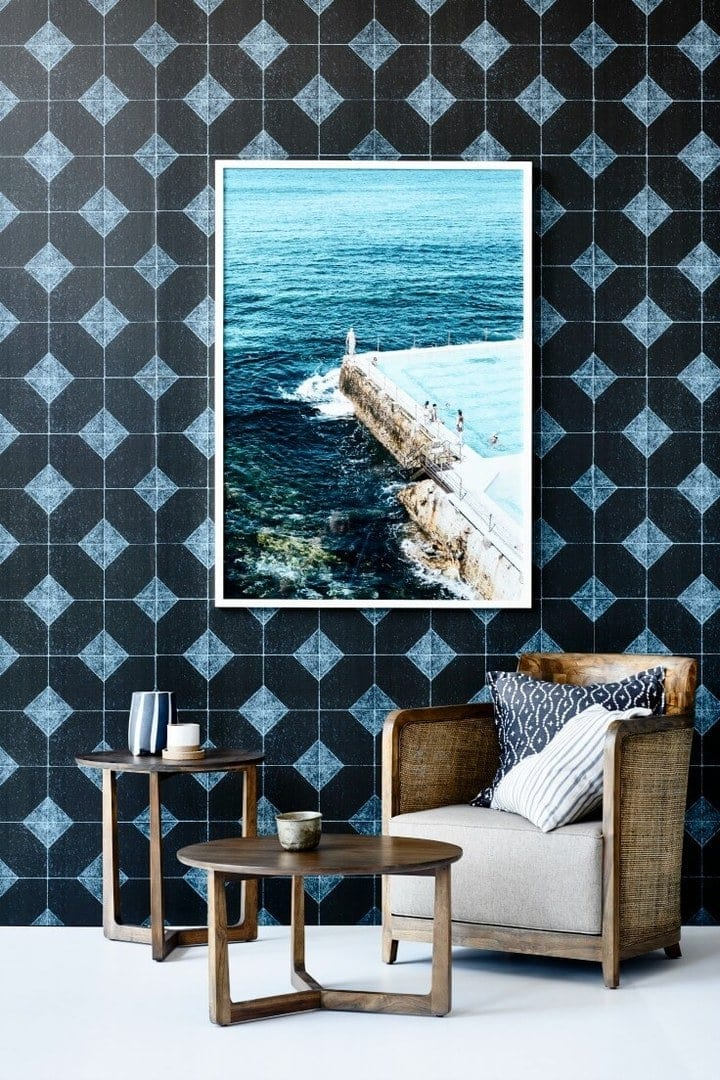 Baha Sofa Occasional Chair & Side Tables from Globewest with black geometric wallpaper